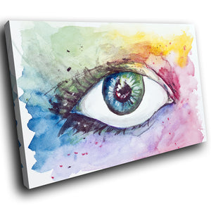 E202 Colourful Abstract Eye Cool Retro Modern Canvas Wall Art Picture Prints-Canvas Print-WhatsOnYourWall