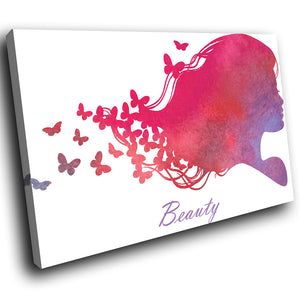 E206 Pink Purple White Butterfly Woman Modern Canvas Wall Art Picture Prints-Canvas Print-WhatsOnYourWall
