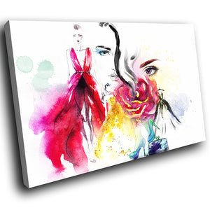 E208 Colourful Floral Abstract Woman Modern Canvas Wall Art Large Picture Prints-Canvas Print-WhatsOnYourWall
