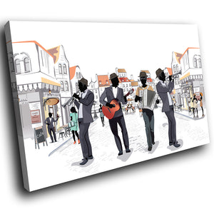 E210 Black White Green Jazz Music Band Modern Canvas Wall Art Picture Prints-Canvas Print-WhatsOnYourWall