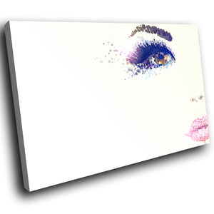 E214 White Black Pink Blue Abstract Face Modern Canvas Wall Art Picture Prints-Canvas Print-WhatsOnYourWall