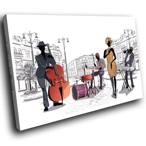 E215 Black White Orange Jazz Music Band Modern Canvas Wall Art Picture Prints-Canvas Print-WhatsOnYourWall