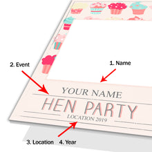 Hen Party Cupcakes Pink Personalised Custom Selfie Board Photo Frame Prop