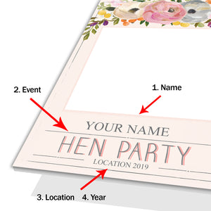 Hen Party Floral Pink Personalised Custom Selfie Board Photo Frame Prop