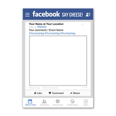 Facebook Social Media Personalised Custom Selfie Board Photo Frame Prop
