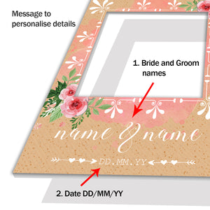 Wedding Pink Floral Rose Personalised Custom Selfie Board Photo Frame Prop