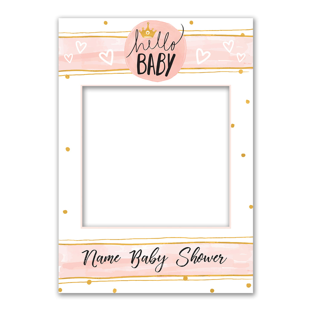 Baby Girl Shower Pink Personalised Custom Selfie Board Photo Frame Prop
