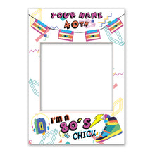 Birthday 80s Retro Blue Personalised Custom Selfie Board Photo Frame Prop