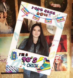 Birthday 90s Retro Blue Personalised Custom Selfie Board Photo Frame Prop
