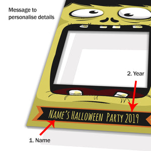 Halloween Monster Green Personalised Custom Selfie Board Photo Frame Prop