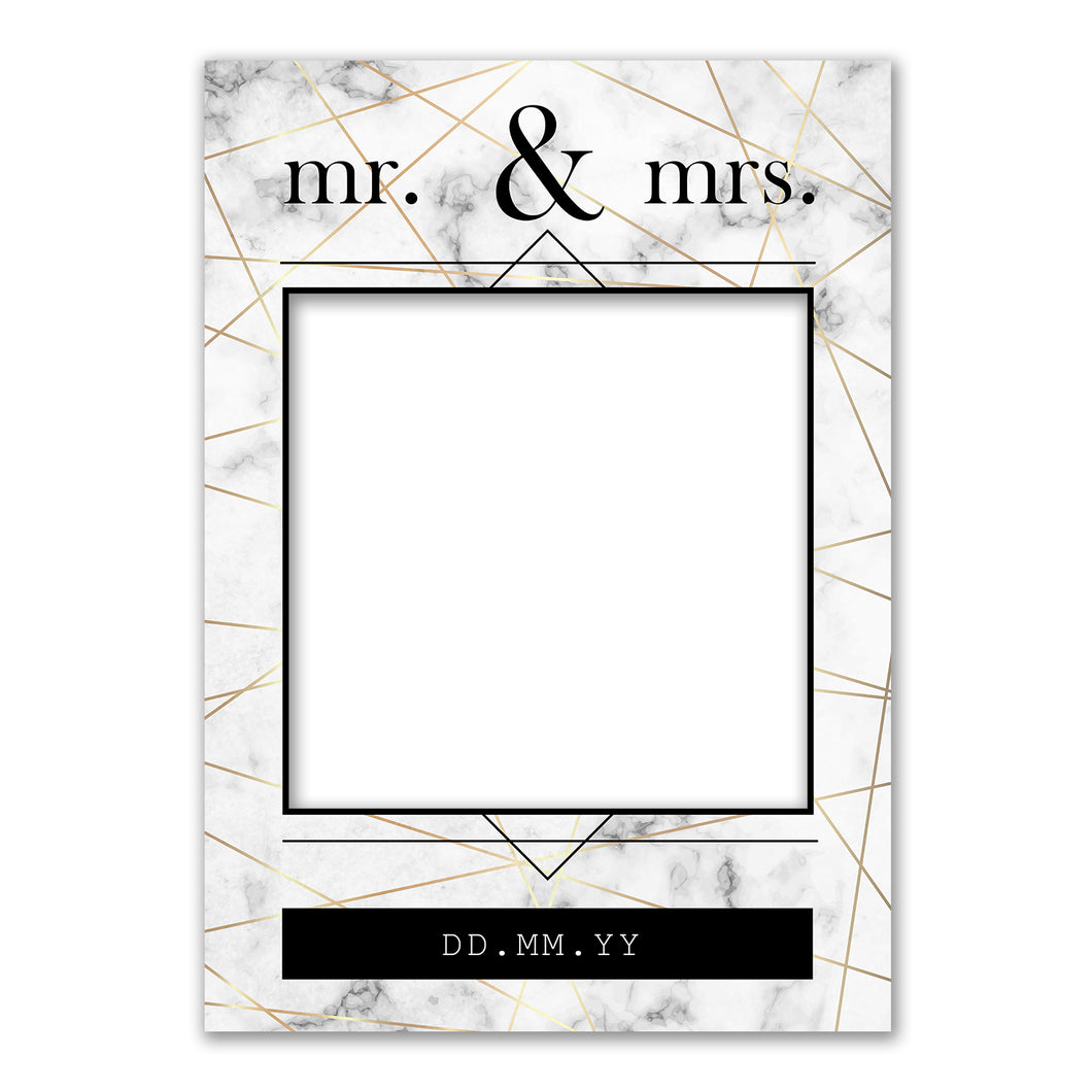 Wedding Grey White Black Personalised Custom Selfie Board Photo Frame Prop