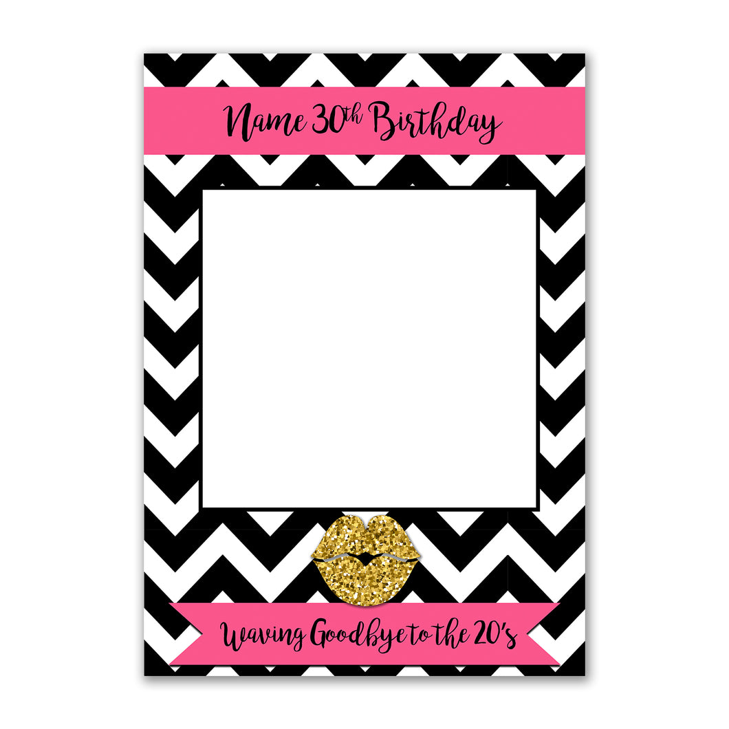 Birthday Stripes Pink Personalised Custom Selfie Board Photo Frame Prop