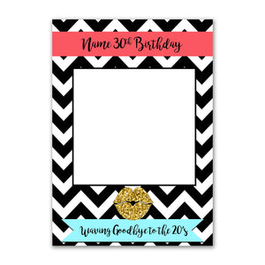 Birthday Stripes Blue Personalised Custom Selfie Board Photo Frame Prop