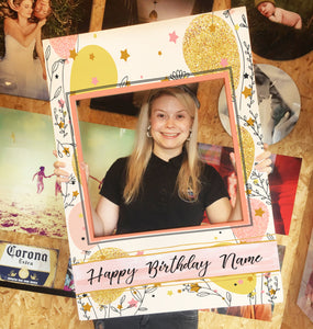 Birthday Balloon Flowers Personalised Custom Selfie Board Photo Frame Prop