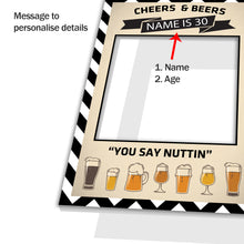 Beer Party Birthday Ale Personalised Custom Selfie Board Photo Frame Prop