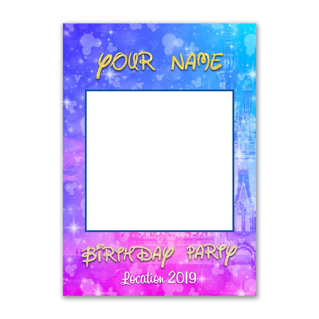 Disney Birthday Party Personalised Custom Selfie Board Photo Frame Prop