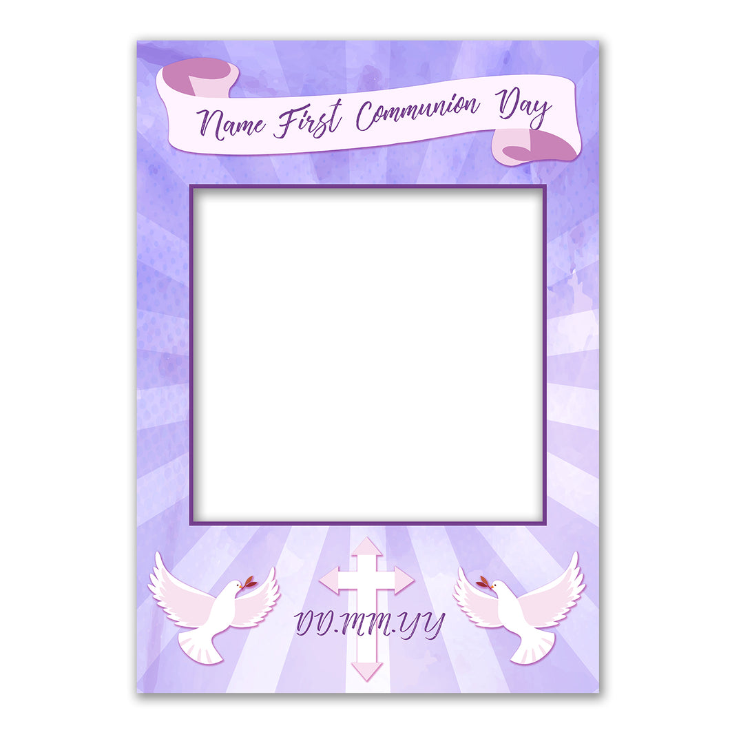 Communion Girl Pink Blue Personalised Custom Selfie Board Photo Frame Prop