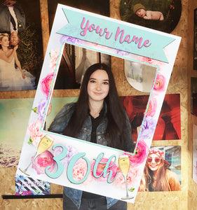Birthday Roses Pink Blue Personalised Custom Selfie Board Photo Frame Prop