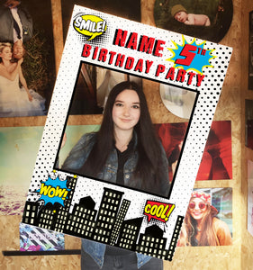 Comic Red Birthday Blue Personalised Custom Selfie Board Photo Frame Prop