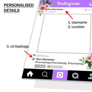 Instagram Social Media Personalised Custom Selfie Board Selfie Frame Purple