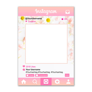 Instagram Social Media Selfie Frame Personalised Custom Photo Board Pink Daisy