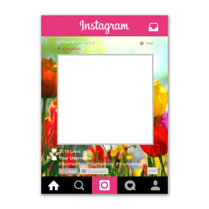 Instagram Social Media Personalised Custom Selfie Frame Photo Board Red Floral