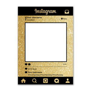 Personalised Selfie Frame Custom Instagram Social Media Photo Board Gold Glitter