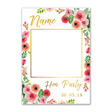 Personalised Selfie Frame Custom Pink Floral Photo Board