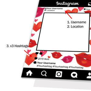 Personalised Selfie Frame Custom Instagram Social Media Photo Board Red Lips