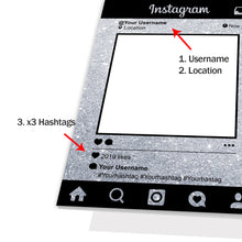 Personalised Selfie Frame Custom Instagram Social Media Photo Silver Sparkle
