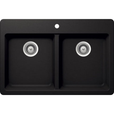 "BRISTOL SINKS - VIRTUO B317 - Topmount Granite Kitchen Sink  - Pearl Black - 33"" x 22"" x 9.5"""