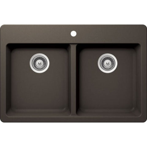 "BRISTOL SINKS - VIRTUO B316 - Top mount Granite Kitchen Sink  - Coffee Brown - 33"" x 22"" x 9.5"""