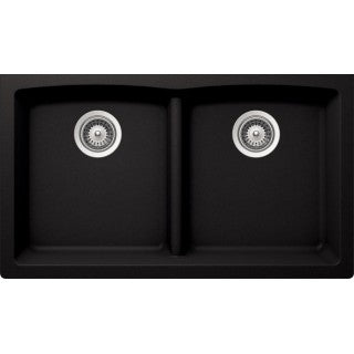 "BRISTOL SINKS - VIRTUO B315 - Low Divide Under Mount Granite Sink - Pearl Black - 33"" x 18 1/2"" x 9 1/2"""