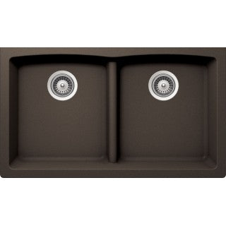 "BRISTOL SINKS - VIRTUO B316 - Low Divide Under Mount Granite Sink - Coffee Brown - 33"" x 18 1/2"" x 9 1/2"""