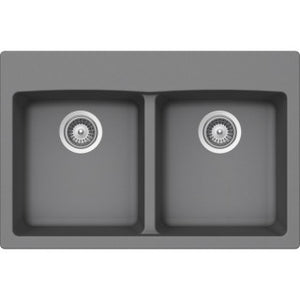 "BRISTOL SINKS - VIRTUO B319 - Top mount Granite Kitchen Sink - Slate Grey - 33"" x 22"" x 9.5"""