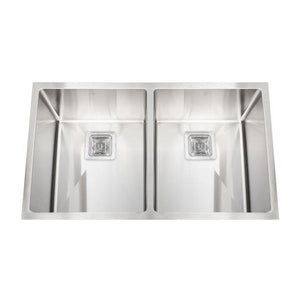 "EZRA - SLR - Designer Square Drain Under Mount Square Kitchen Sink - 32"" x 19"" x 9 1/2"""