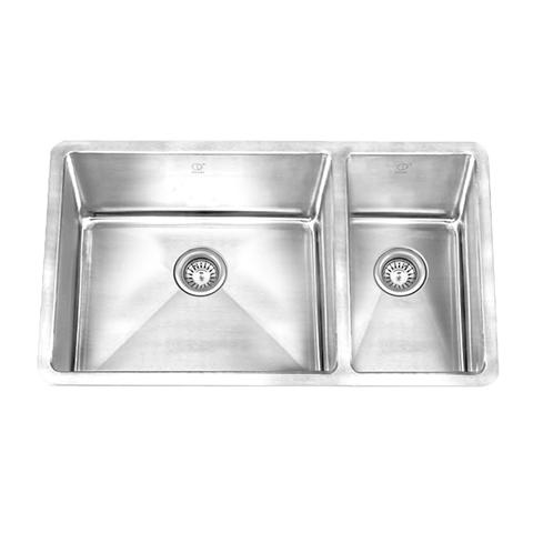 "HANA -KLR - Offset Square Kitchen Sink Radius Corners - 27 1/2"" x 18"" x 9"""