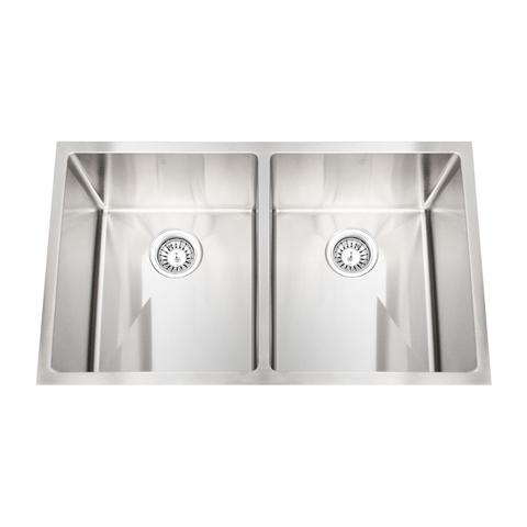 "HANA - ER - Double Equal Square Kitchen Sink - 32"" x 19"" x 10"""