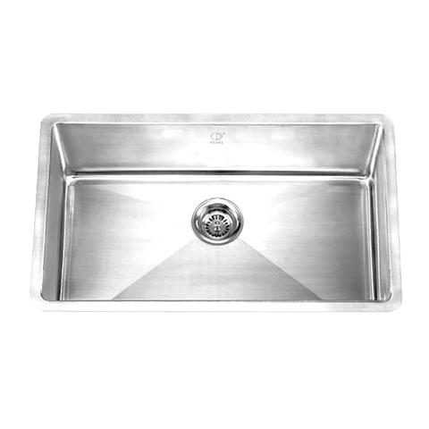 "HANA - PR - Single Bowl Square Kitchen Sink - Radius Corners - 32"" x 19"" x 10"""
