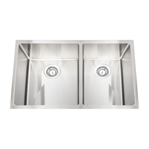 "HANA SLR - Offset Double Bowl Kitchen Sink by PEARL - 32"" x 19"" x 10"""