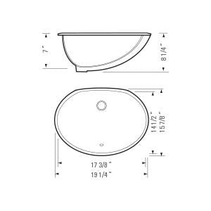 "KASU - C - Oval Under Mount Bathroom Sink -  19 1/4"" x 15 7/8"" x 8 1/4"""