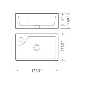 "KASU - DM - Rectangle Ceramic Designer Bathroom Sink - 17 1/2"" x 13 1/4"" x 5"""