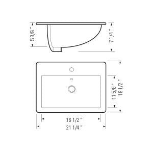 "KASU - TC - Drop in Rectangle Bathroom Sink - 21 1/4"" x 18 1/2"" x 7 1/4"""