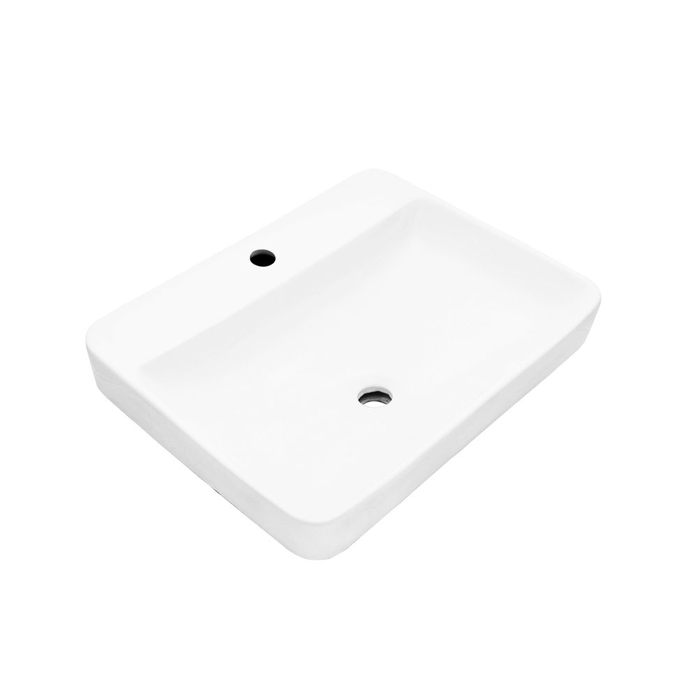 "KASU - WM - Fireclay Ceramic Half-Mount Bathroom Sink - 23"" x 14"" x 6 1/4"""