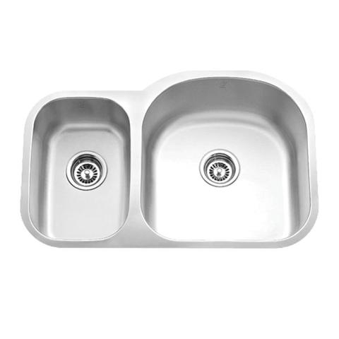"MABE - SR - Reverse Mount Off Set Double Bowl Kitchen Sink - 31 1/2"" x 20 5/8"" x 9"""