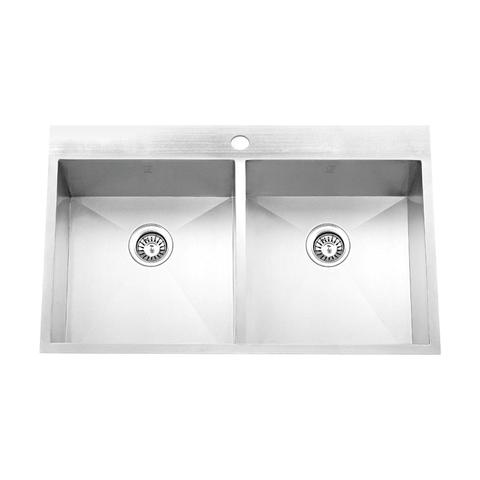 "PALO - E - Sleek Square Double Bowl Drop In Kitchen Sink - 32"" 1/2"" x 22"" x 9"""