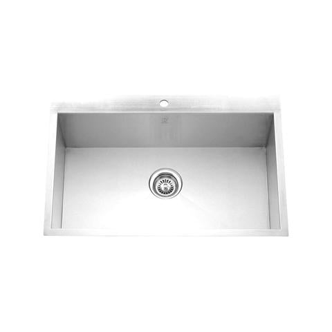 "PALO - P - Drop in Sleek Single Bowl Kitchen Sink - 32 1/2"" x 22"" x 9"""