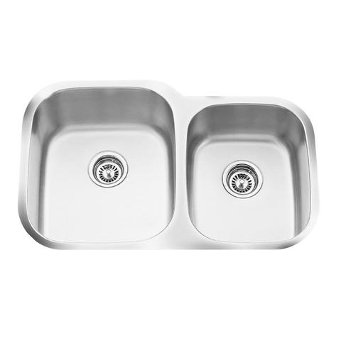 "Q - CL - Offset Under Mount Kitchen Sink - 16 Gauge - Sink Racks Included - 32 1/4"" x 20 5/8"" x 9"""