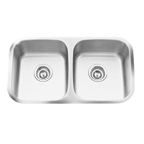 "Q - EK - Double Equal Kitchen Sink -16 Gauge - Sink Grids Included - 31"" x 20 5/8"" x 9"""