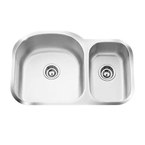 "Q - SL - Offset Under Mount Kitchen Sink - 16 Gauge - Sink Grids Included - 31 1/2"" x 20 1/2"" x 9"""